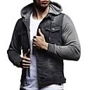 povoljno Odjeća za fitness, trčanje i jogu-Muškarci Dnevno Normalne dužine Farmerkabátok, Jednobojni S kapuljačom Dugih rukava Poliester Crn / Plava / Tamno siva