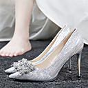 olcso Női magassarkú cipők-Női Magassarkúak Tűsarok Erősített lábujj Strasszkő Szatén Klasszikus / Édes Tavasz & Ősz Arany / Forgásc / Esküvő / Party és Estélyi