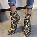 baratos Botas Femininas-Mulheres Botas Sapatos de impressão Salto Robusto Dedo Apontado Couro Ecológico Botas Curtas / Ankle Inverno Preto / Amarelo / Vermelho
