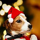 billiga Julpynt-vinter röd hund santa jul hattar varm valp hatt med plysch bollhuvudbonader