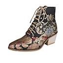 olcso Női csizmák-Női Csizmák Nyomtatási cipő Vaskosabb sarok Erősített lábujj Szintetikus Magas szárú csizmák Ősz & tél Fekete