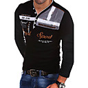 Χαμηλού Κόστους ΑΑυτοκίνητα RC-Ανδρικά T-shirt Γράμμα Λαιμόκοψη V Λεπτό Μαύρο