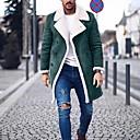 billige Slip-ons og loafers til herrer-Herre Daglig Normal Frakk, Ensfarget Aftæpning Langermet Polyester Svart / Grønn / Grå