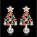 Χαμηλού Κόστους Θρησκευτικά Κοσμήματα-Γυναικεία Cubic Zirconia Κουμπωτά Σκουλαρίκια Γεωμετρική Άνθινο Θέμα Στυλάτο Σκουλαρίκια Κοσμήματα Χρυσαφί Για Καθημερινά Φεστιβάλ 1 Pair