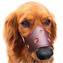 ราคาถูก ปลอกคอ สายจูง สายรัดสำหรับสุนัข-สุนัข Muzzles ป้องกันเปลือก สีพื้น หนังแท้ สีน้ำตาล