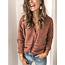 povoljno Modne naušnice-Žene Jednobojni Dugih rukava Kardigan Džemper od džempera, V izrez Deva M / L / XL
