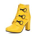 billige Mote Boots-Dame Støvler Tykk hæl Rund Tå PU Ankelstøvler Vintage / Britisk Høst vinter Svart / Hvit / Gul / Fest / aften