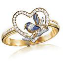 billiga Armbandsklockor-Dam Ring 1st Guld Bergkristall Legering Oregelbunden Klassisk Mode söt stil Gåva Dagligen Smycken Klassisk Fågel Hjärta