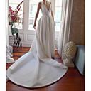 Χαμηλού Κόστους Νυφικά-Γραμμή Α Λαιμόκοψη V Ουρά μέτριου μήκους Σατέν Κανονικοί ιμάντες Φορέματα γάμου φτιαγμένα στο μέτρο με Κουμπί 2020