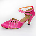 billige Ballroom-sko og moderne dansesko-Dame Dansesko Sateng Moderne sko Høye hæler Kubansk hæl Kan spesialtilpasses Fuksia