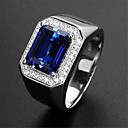 ราคาถูก แหวน-สำหรับผู้ชาย แหวนปรับได้ พลอยสังเคราะห์ 1pc สีเงิน Platinum Plated โลหะผสม Stylish งานแต่งงาน ของขวัญ เครื่องประดับ น่ารัก