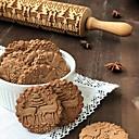 billiga Baktillbehör-35 cm trä jul prägling kavel bakning kakor kex fondant tårta degen graverad rullpinne bakverkningsverktyg