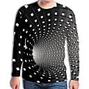 billiga Modeörhängen-Plisserad / Tryck, Geometrisk / 3D Plusstorlekar T-shirt - Streetchic / drivna Herr Rund hals Svart / Långärmad