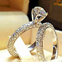ราคาถูก แหวน-สำหรับผู้หญิง แหวน Cubic Zirconia 1pc ขาว สีเงิน Platinum Plated โลหะผสม Stylish ทุกวัน เครื่องประดับ น่ารัก