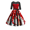 povoljno Santa odijela & Božićna haljina-Žene Elegantno A kroj Haljina - Print, Geometrijski oblici Midi