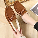 olcso Női alacsony cipők-Női Lapos Lapos Kerek orrú Fordított bőr Ősz & tél Fekete / Barna / Piros
