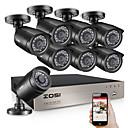 billige DVR-Sett-zosi 8ch videoovervåkningssystem 8x720p innendørs utendørs ir værbestandig hjemmesikkerhetskameraer hd cctv dvr-sett 1 tb hdd