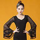 ราคาถูก ชุดเต้น Ballroom-ชุดเต้นรำโมเดิร์น เสื้อ สำหรับผู้หญิง Performance น้ำแข็งไหม กระโปรงระบาย แขนยาว Top