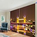 billiga Artificiell Blomma-nattlondon bridge digitaltryck 3d gardin skuggning gardin hög precision svart siden tyg hög kvalitet gardin