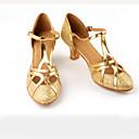 billige Ballroom-sko og moderne dansesko-Dame Moderne sko / Ballett Sateng Spenne Høye hæler Tvinning Kubansk hæl Dansesko Svart / Mørkebrun / Gull / Ytelse