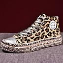 billige Sneakers til damer-Dame Treningssko Flat hæl Rund Tå Lerret Høst vinter Svart / Leopard