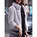 Χαμηλού Κόστους Καπέλο για πάρτι-Γυναικεία Πάρτι / Αργίες Βασικό Φθινόπωρο & Χειμώνας Κανονικό Faux Fur Coat, Μονόχρωμο Όρθιος Γιακάς Μακρυμάνικο Γούνα Αλεπούς / Γούνα Ρακούν Patchwork Μαύρο / Λευκό / Ανθισμένο Ροζ