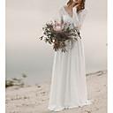 baratos Vestidos de Casamento-Linha A Decote V Cauda Escova Chiffon Manga Longa Praia Frente Única Vestidos de casamento feitos à medida com Aplicação de renda 2020