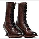 olcso Női sportcipők-Női Csizmák Kényelmes cipők Tűsarok Kerek orrú PU Magas szárú csizmák Tél Fekete / Barna