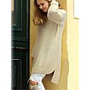 povoljno Ogrtač-Žene Jednobojni Dugih rukava Pullover Džemper od džempera, Okrugli izrez Pamuk Crn / Lila-roza / Bež One-Size