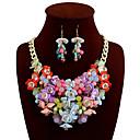 billiga Jewelry Set-Dam Uttalande Halsband Kraghalsband Blomma damer Europeisk söt stil Tjock Legering Svart Ljusblå Regnbåge Gul Rosa Halsband Smycken Till Dagligen Casual