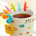 billige Vinglass-søte godterifarger 6 stk / sett snegelform silikon for krus kopp teposeholder