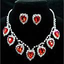 povoljno Nakit i ručni satovi-Žene Sitne naušnice Choker oglice Ogrlice s privjeskom 3D Srce dragocjen Jedinstven dizajn Moda Glina Naušnice Jewelry Crvena Za Vjenčanje Party Praznik 1set / Svadbeni nakit Setovi