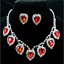 povoljno Komplet nakita-Žene Sitne naušnice Choker oglice Ogrlice s privjeskom 3D Srce dragocjen Jedinstven dizajn Moda Glina Naušnice Jewelry Crvena Za Vjenčanje Party Praznik 1set / Svadbeni nakit Setovi