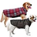 billiga Hundkläder-Hund Kappor Väst Vinter Hundkläder Vändbar Brun Grön Röd Kostym Cotton Pläd / Rutig Håller värmen Vändbar XS S M L XL XXL