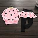 Χαμηλού Κόστους Σετ ρούχων για κορίτσια-Παιδιά Κοριτσίστικα Ενεργό Στάμπα Μακρυμάνικο Βαμβάκι Σετ Ρούχων Ανθισμένο Ροζ
