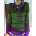 povoljno Zidni satovi-Žene Prugasti uzorak Dugih rukava Pullover Džemper od džempera, V izrez purpurna boja / Bijela / Plava S / M / L