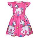Χαμηλού Κόστους Χαμηλές γόβες για έφηβες-Παιδιά Κοριτσίστικα Ενεργό Γλυκός Κινούμενα σχέδια Κοντομάνικο Ως το Γόνατο Φόρεμα Ανθισμένο Ροζ