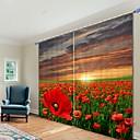 baratos Cortinas 3D-Flor vermelha mar impressão digital 3d cortina de sombreamento cortina de alta precisão tecido de seda preto cortina de alta qualidade