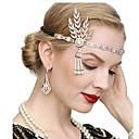 cheap Historical & Vintage Costumes-The Great Gatsby Vintage 1920s The Great Gatsby Gloves Flapper Headband Women's Costume Necklace Earrings Black / Golden / White Vintage Cosplay Festival / 1 Pair of Earrings / Headwear / Headwear