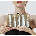 cheap Hair Pieces-Women's Chain Alloy Evening Bag Striped Black / Gold / Silver
