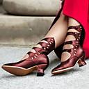 baratos Sapatos de Salto-Mulheres Botas Salto Baixo Dedo Apontado Couro Ecológico Botas Curtas / Ankle Outono & inverno Preto / Marron / Vinho