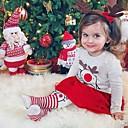 Χαμηλού Κόστους Σετ ρούχων για κορίτσια-Μωρό Κοριτσίστικα Κομψό στυλ street Στάμπα / Χριστούγεννα Μακρυμάνικο Κανονικό Σετ Ρούχων Μπεζ / Νήπιο