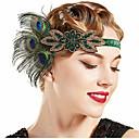 povoljno Stare svjetske nošnje-The Great Gatsby Vintage 1920s Gatsby Rukavice Traka za kosu u stilu 20-ih Žene Kostim Šeširi Fascinators Zelen Vintage Cosplay Festival