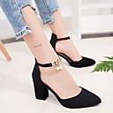 ราคาถูก รองเท้าส้นสูงผู้หญิง-สำหรับผู้หญิง รองเท้าส้นสูง ส้นหนา Pointed Toe หนังนิ่ม ฤดูร้อน สีดำ / สีเทา / ทุกวัน