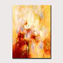 billige Abstrakte malerier-Hang malte oljemaleri Håndmalte - Abstrakt Blomstret / Botanisk Moderne Uten Indre Ramme