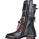 cheap Women's Boots-Women's Boots Comfort Shoes Flat Heel Round Toe PU Mid-Calf Boots Fall & Winter Black / Brown