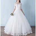 billige Bryllupskjoler-A-linje V-hals Gulvlang Polyester Halvlange ermer Formelle / mordern Åpen rygg Made-To-Measure Brudekjoler med Blondeinnlegg 2020