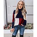 povoljno Modne naušnice-Žene Color block Dugih rukava Širok kroj Pullover Džemper od džempera, Okrugli izrez Pamuk Crn / Djetelina / Navy Plava S / M / L