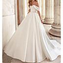 Χαμηλού Κόστους Νυφικά-Γραμμή Α Ώμοι Έξω Ουρά μέτριου μήκους Σατέν Κοντομάνικο Φορέματα γάμου φτιαγμένα στο μέτρο με Χάντρες 2020