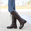 Χαμηλού Κόστους Βιολιά-Γυναικεία Μπότες Μπότες Μέχρι το Γόνατο Επίπεδο Τακούνι Στρογγυλή Μύτη PU Μπότες ως το Γόνατο Χειμώνας Μαύρο / Κίτρινο / Καφέ